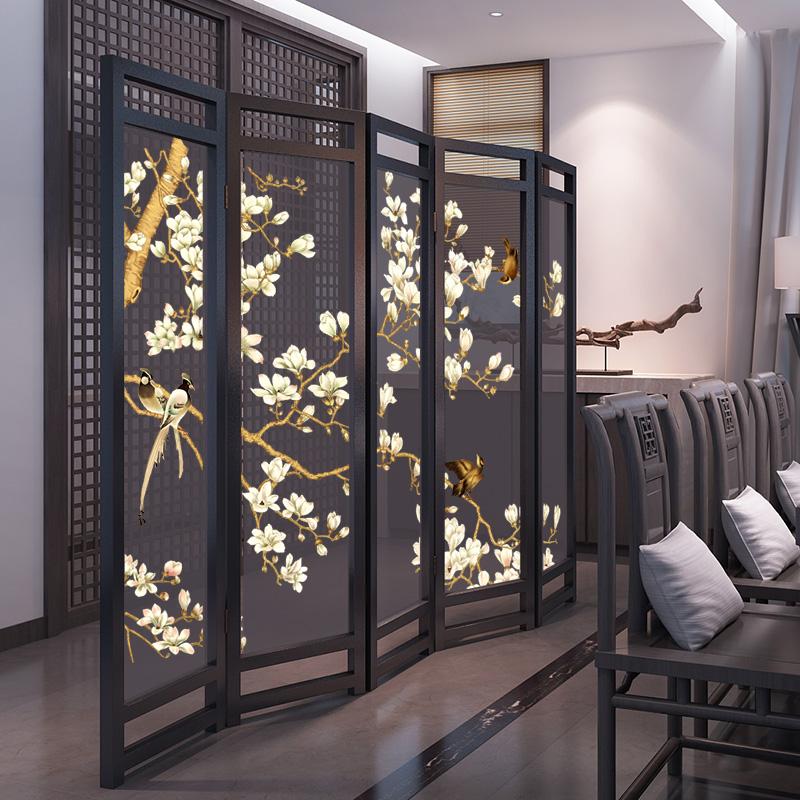 Новый китайский стиль сложить экран простой современный дерево вход отрезать гостиная вводить семья съемный шаг пирсинг ткань сложить экран
