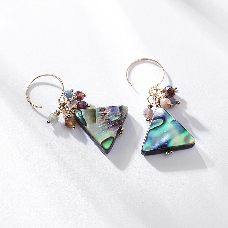 14k Gold covered natural gemstone mother shell triangle earrings earrings earrings hand made original jewelry gifts