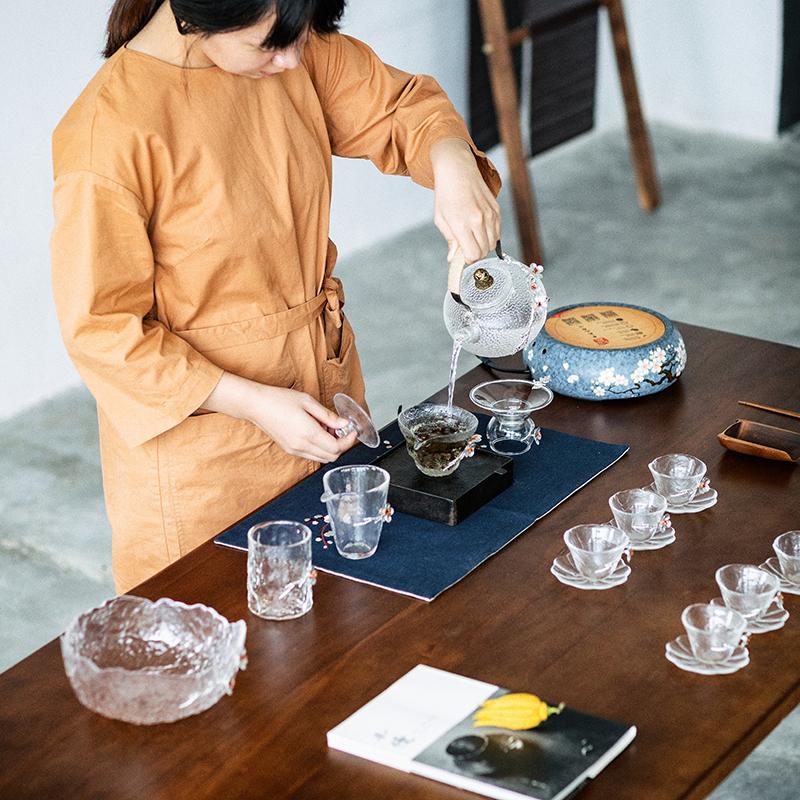 10月15日最新优惠锤纹玻璃提梁壶煮电陶炉套装公道杯