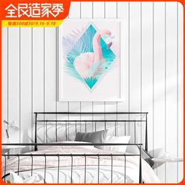 北欧风格墙纸现代简约白色竖条纹卧室客厅电视背景吊顶天花板壁纸