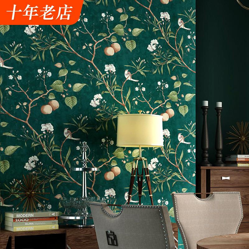 美式乡村墙纸田园轻奢风格复古客厅卧室墨绿色花鸟电视背景墙壁纸