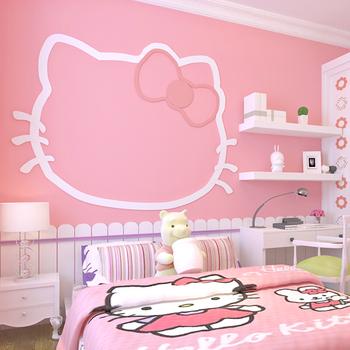 粉色无纺布纯色素色温馨公主儿童房壁纸美容院女生女孩少女心墙纸