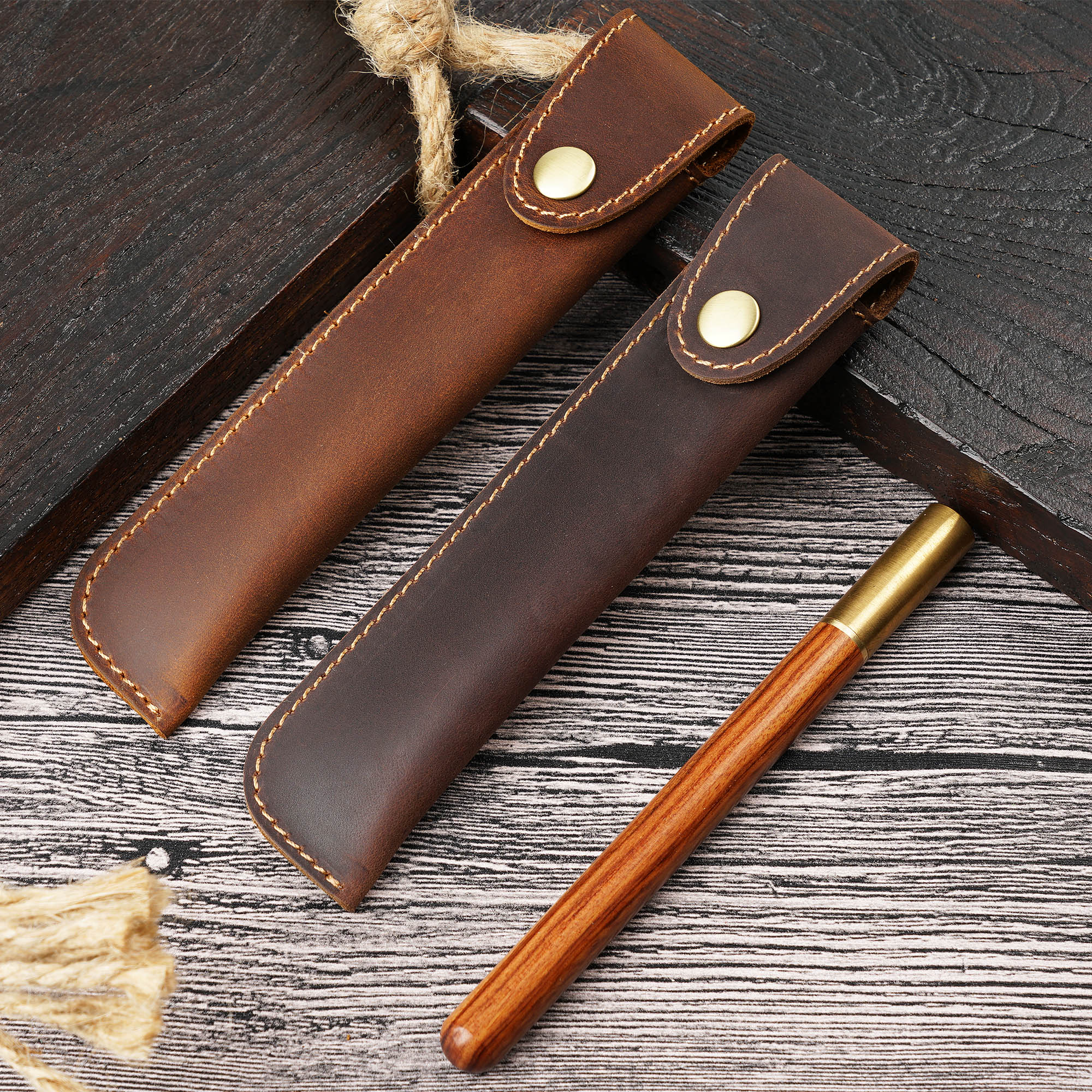 新款纯色头层牛皮手工笔套钢笔�;ぬ浊┳直势ぬ资漳纱�复古笔袋潮