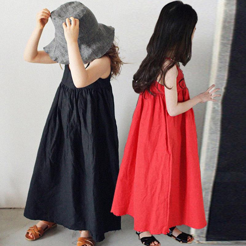 童装2020新款女童连衣裙夏装中大童文艺范棉麻吊带长裙亲子沙滩裙