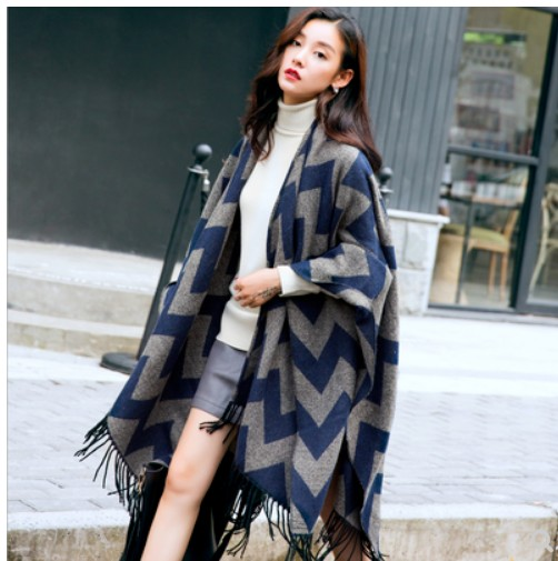 Split Cape style shawl coat thickened warm loose Korean long versatile scarf shawl womens autumn and winter