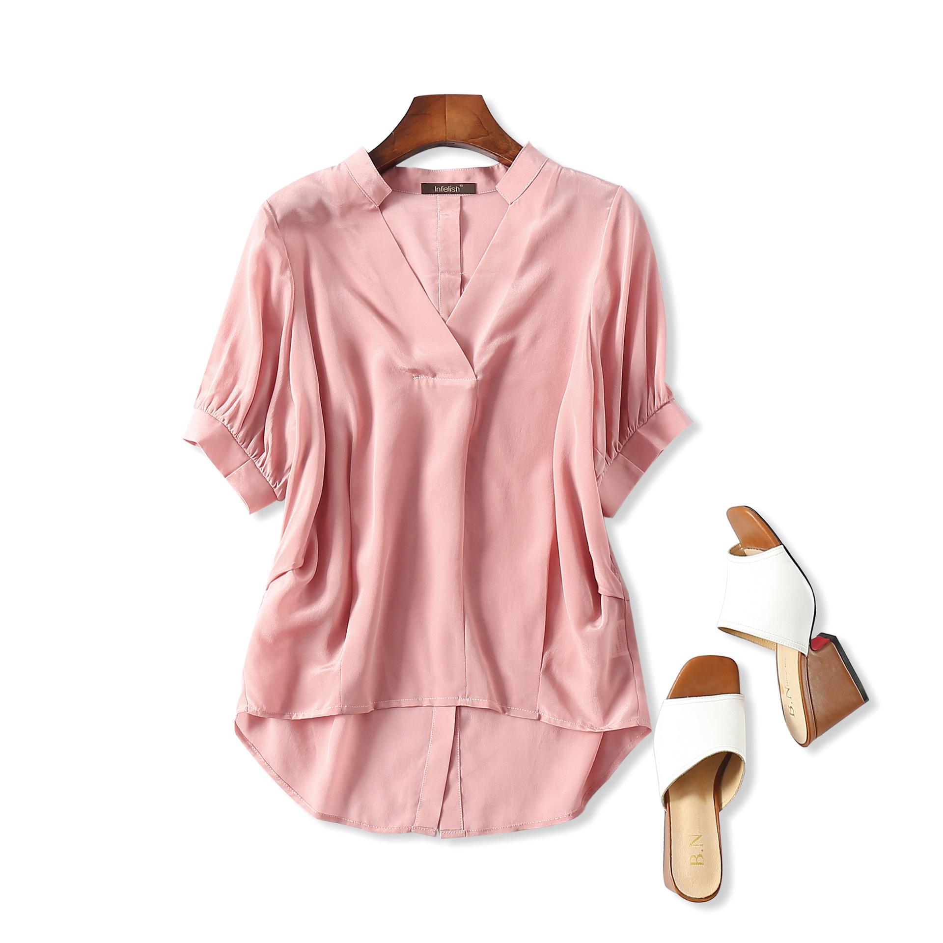 出口意大利外贸原单剪标尾货 后背扣子设计 V领真丝上衣衬衫女夏