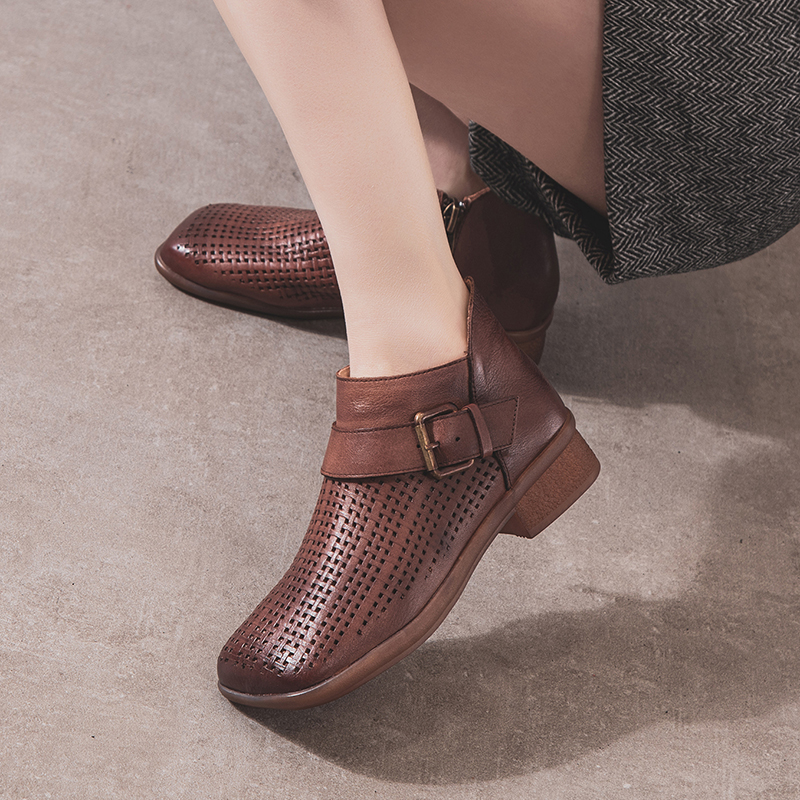 2020 New Retro belt buckle hollow short boots womens leather high top hole shoes cowhide soles womens sandals