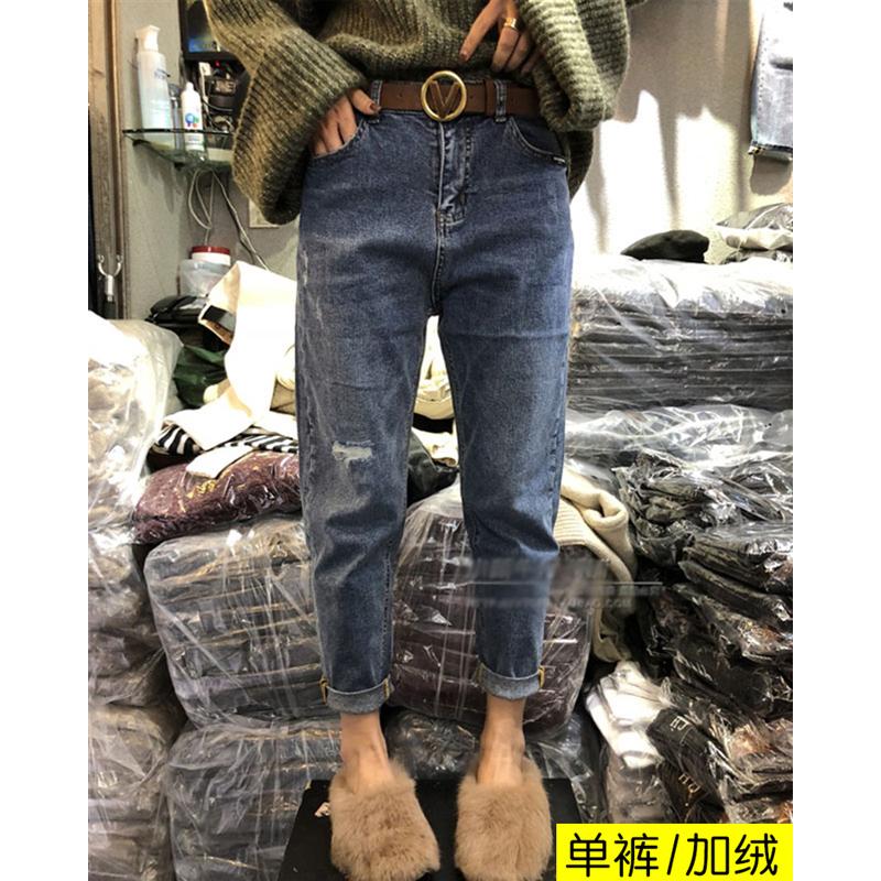 2019新款大码网红女装秋冬流行牛仔裤胖妹妹适合胯大腿粗的裤子潮(非品牌)