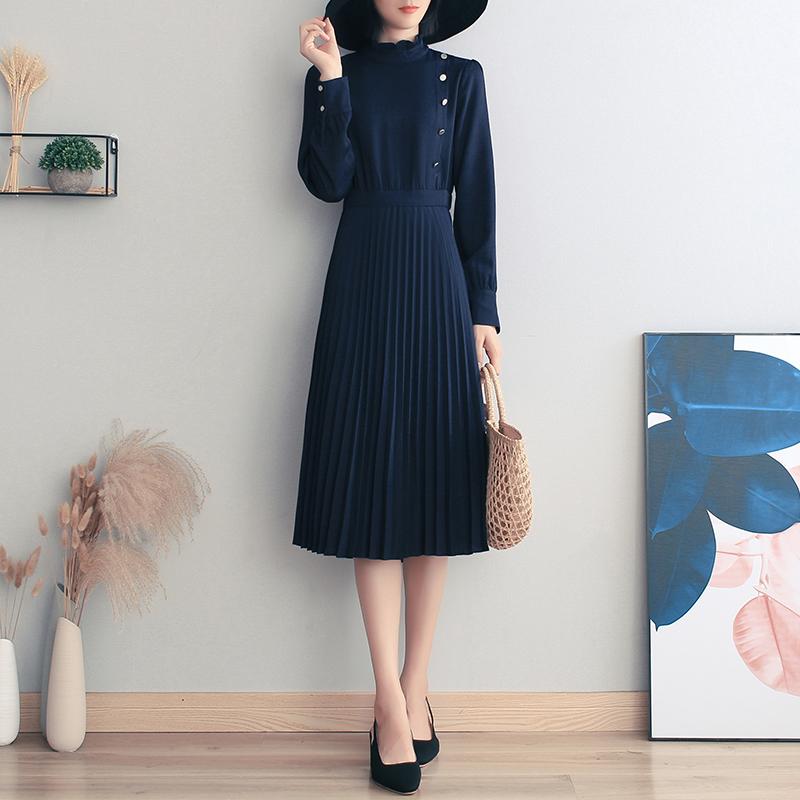 蓝色雪纺连衣裙2020秋季新款女气质高端时尚收腰显瘦百褶裙中长裙