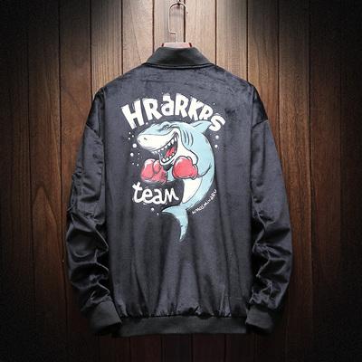 日系木纹挂拍休闲拳击鲨鱼印花男士春季棒球服夹克 款号J327 P85
