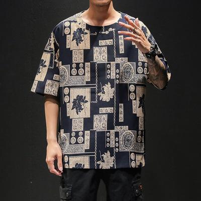 日系黑墙男士花色短袖T恤夏季宽松大码 款号T9114 P30【控48】