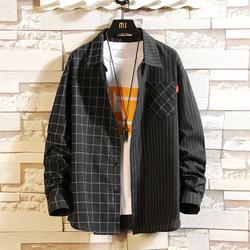 日系砖墙挂拍秋大码宽松男士长袖格子衬衫 款号C752 P50【控68】