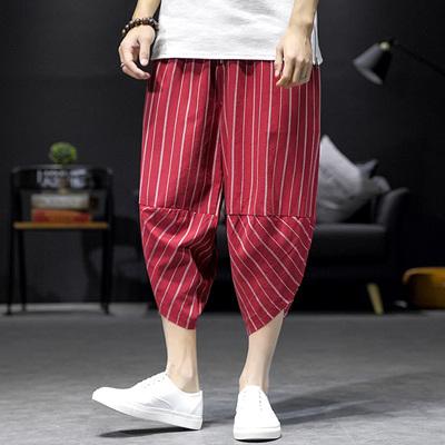黑墙风日系条纹休闲七分裤夏季大码男士潮 款号K9507 P50【控68】
