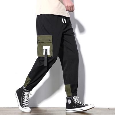K267白墙风春季日系大码原创宽松撞色口袋男休闲长裤P65【控98】
