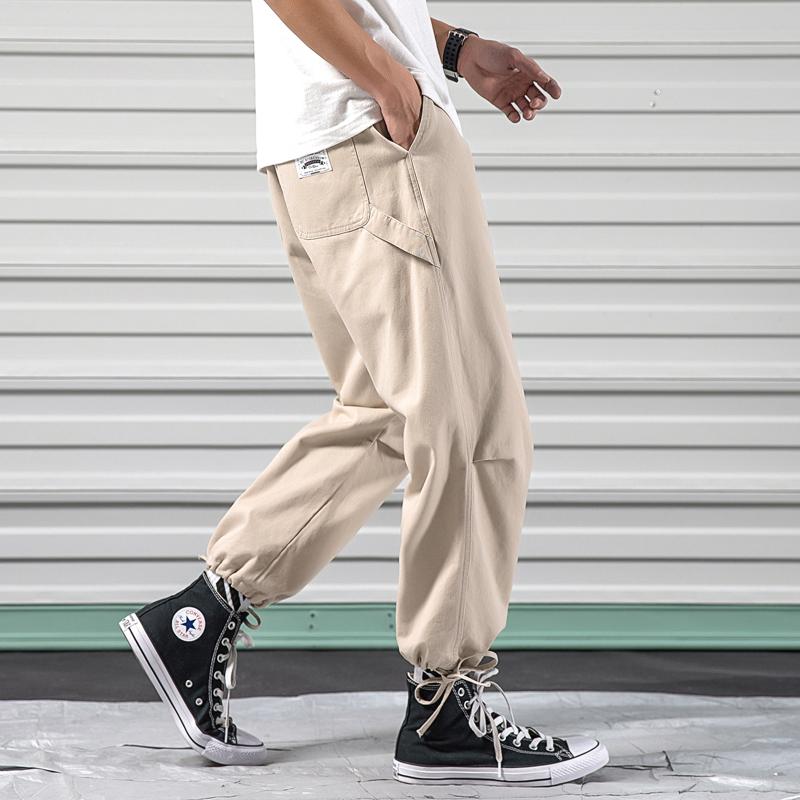 2020卷闸门春季日系大码原创男束脚松紧腰工装休闲裤K236-P55