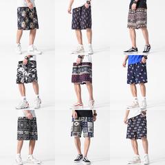 2019夏季新大码日系民族风印花短裤休闲裤沙滩裤五分裤K3510-P20