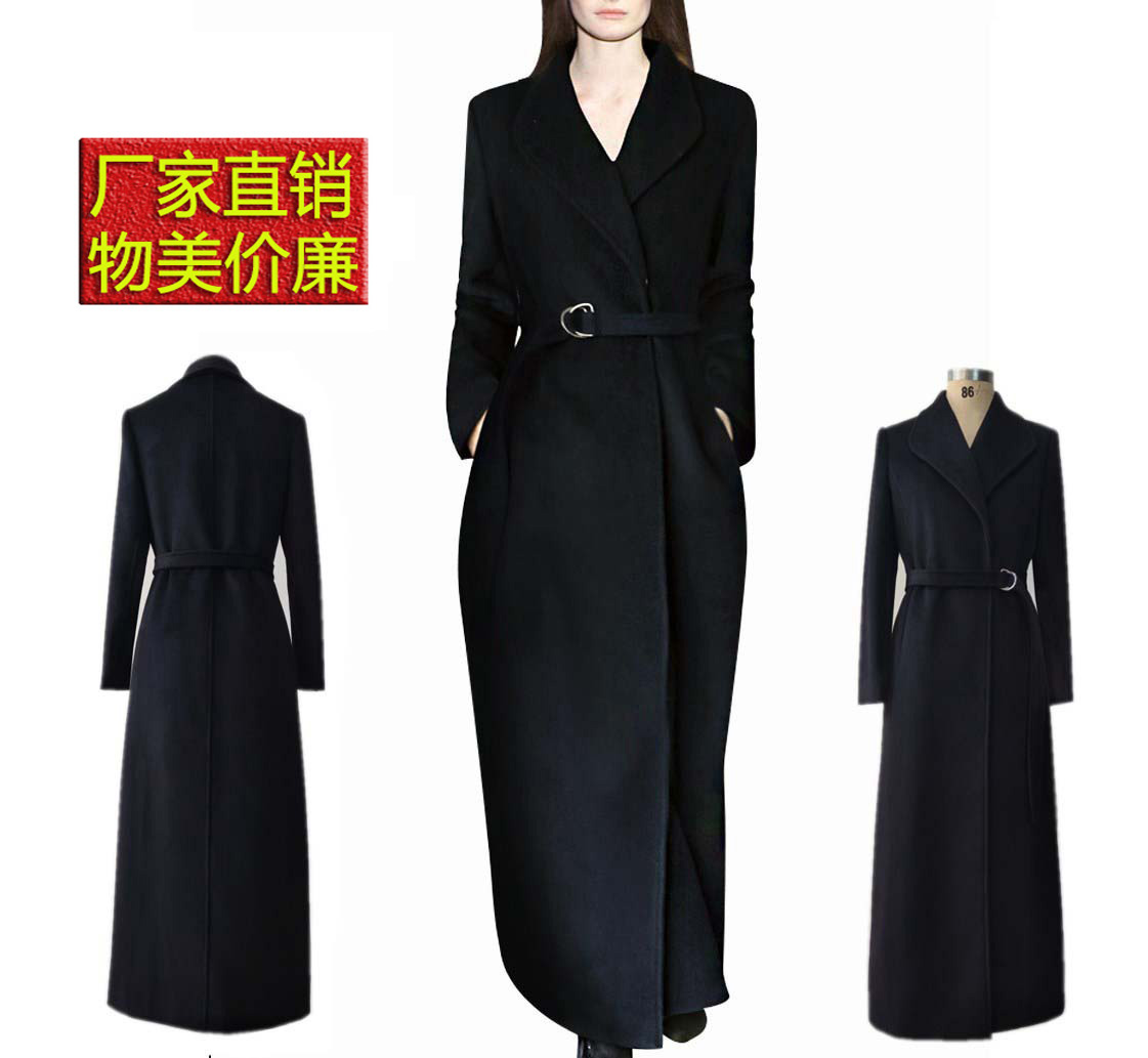 Super long Hepburn style woolen coat womens new style of slim fit in autumn and winter of 2019