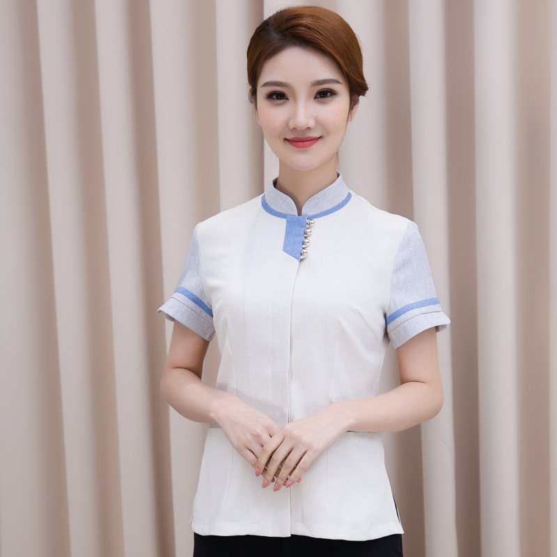 Hotel restaurant waitress guest room property cleaning short sleeved overalls summer cleaning hotel cleaner