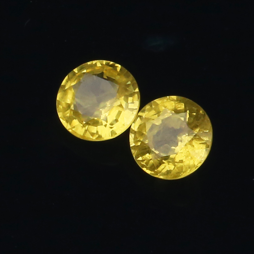 [NGTC national inspection] 1.31ct yellow sapphire round ring face naked stone pair