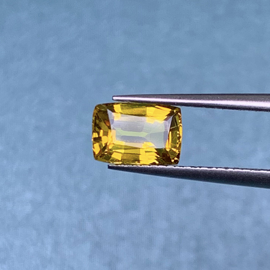 1 carat natural yellow sapphire bare stone ring face supports customization