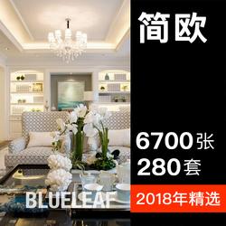 簡歐裝修風格房屋室內設計效果圖客廳餐廳吊頂卧室二三居室家裝