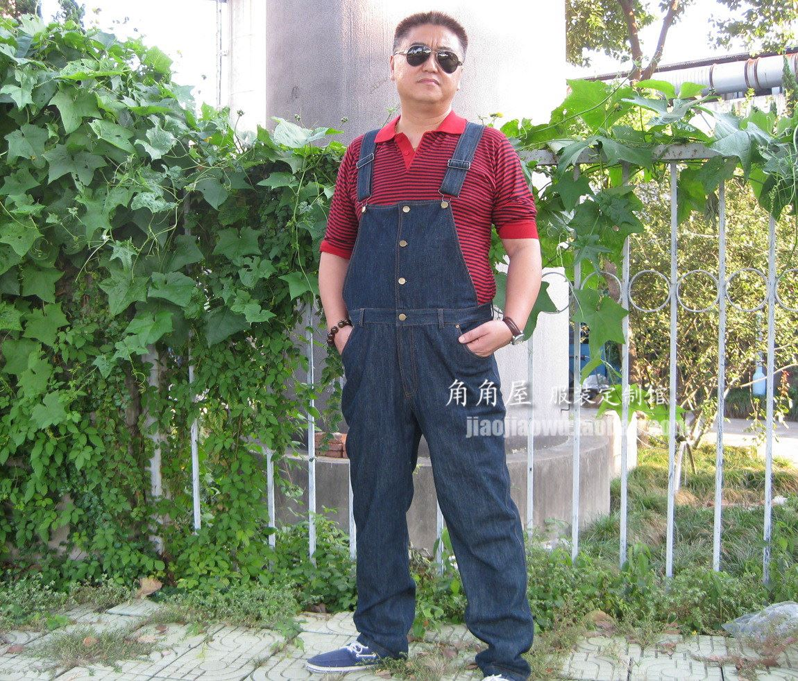 Mens oversized jeans suspenders casual pants tooling pants 07