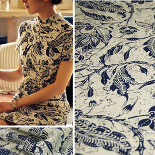 Foreign orders summer season clothing sketch flower cotton cloth fabric flower linen laundry half a meter price