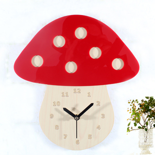 When the three dimensional fairy tale forest mushroom wood retro wall clock mute quartz pastoral wall wall clocks