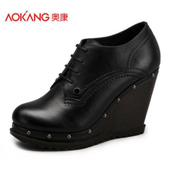 Aokang shoes waterproof ultra New England wedges high heels shoes with comfort strap with round head shoe