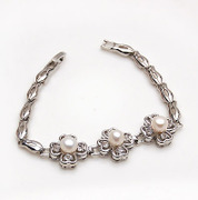 Smiling post Korea new zircon silver pearl bracelet hand chain Korean jewelry women