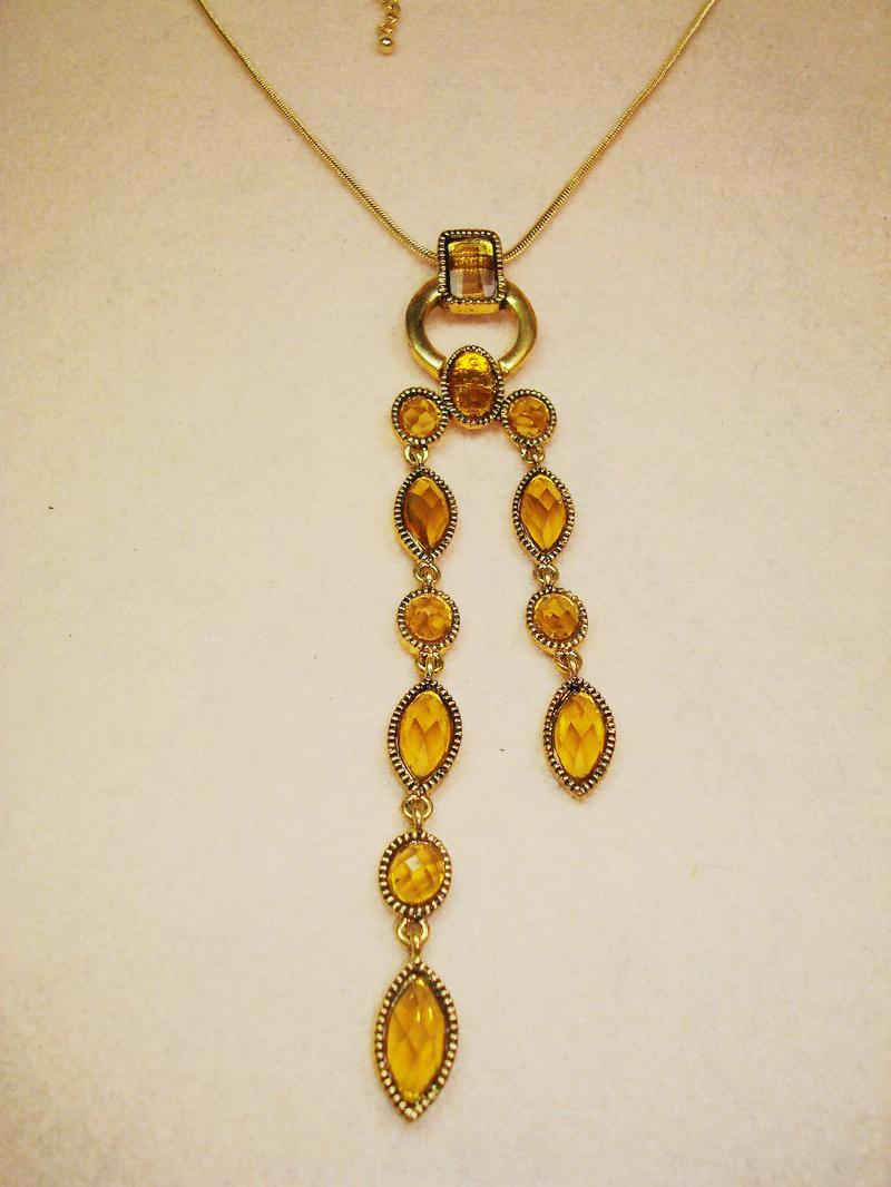 欧美原单外贸饰品批发 复古金镶嵌宝石蛇骨链长吊坠项链(0313)