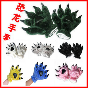 New products: ancient dinosaur animal claw Plush gloves and panda bear paw gloves