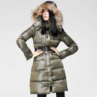 2013 winter discount clearance elaborate waist long section fur collar hooded down jacket with belt two colors