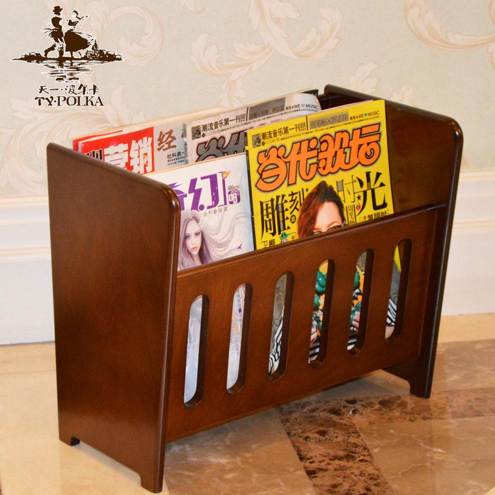 天一·波尔卡新款欧式木质报刊架杂志架书报架办公资料收纳展示架