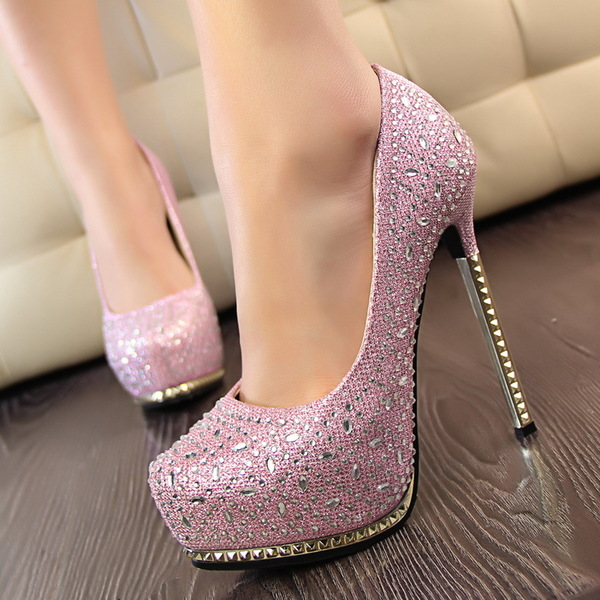 Blingbling lady high heel shoes with rhinestone new han edition style gold shining light mouth with waterproof's main photo