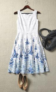 夏季清新靓丽纯棉花色无袖连衣裙
