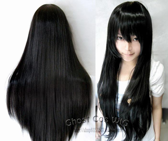 Черные прямые волосы