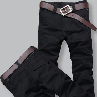Spring 2015 men s casual pants tide personality thin Slim trousers new straight men plus fertilizer XL solid black