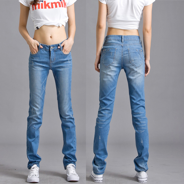 Small straight jeans womens autumn 2020 new loose BF style student stretch plus large wide leg straight pants