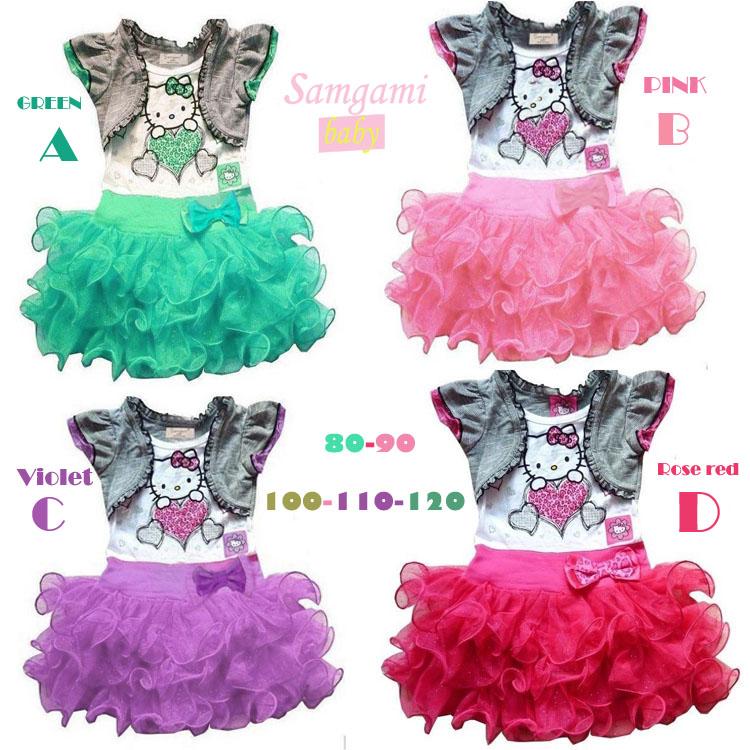 Лето 2014 новые поддельные два куска Привет Китти младенцев малышей девочек пачка платье с короткими рукавами S205