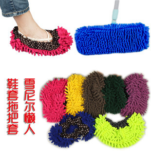 Chenille lazy slippers wipe slippers essential home cleaning mop caps shoe covers household cleaning