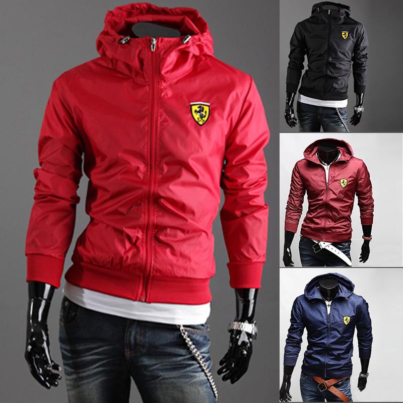 Мужской моды куртка с капюшоном Пальто сплошной цвет повязку корейской версии красное пальто специальное предложение мужчин тонкие кожаные куртки
