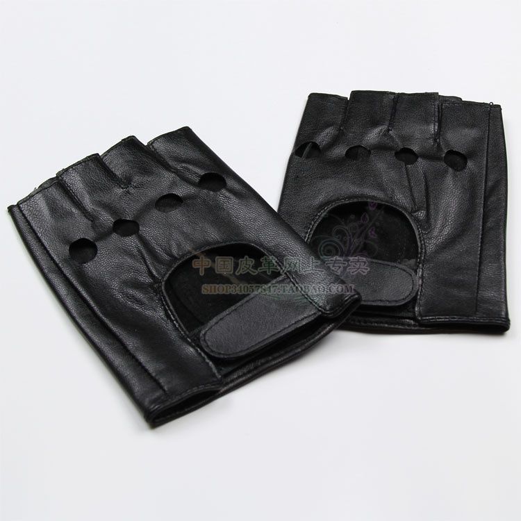 Mens Half Finger exposed lambskin driving motorcycle leather gloves motorcycle fitness gloves in spring and Autumn