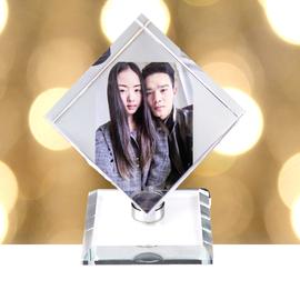 水晶魔方旋转立方体 创意DIY定制照片影像制作生日礼物摆台包邮图片