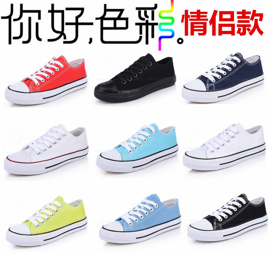 Летний корейский приливных плоский холст обувь сплошной цвет мужчины и пары кружева низкой вырезать студентов девушки случайные Обувь спортивная обувь