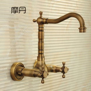 Modan antique copper faucet full rotation Continental faucet hot and cold faucet holes into the wall Wall Mount