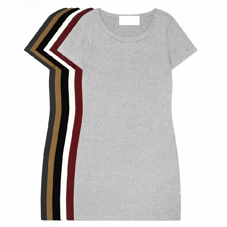 Early autumn 2020 new Korean womens slim bottomed shirt womens T-shirt short sleeve medium length T-shirt buttock dress