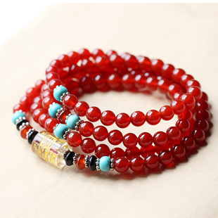 Qi one thousand female red agate bracelet mantra prayer beads bracelets men
