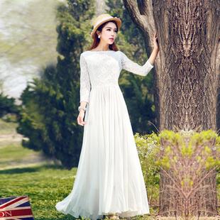 莎点2019波西米亚白色九分袖大摆裙