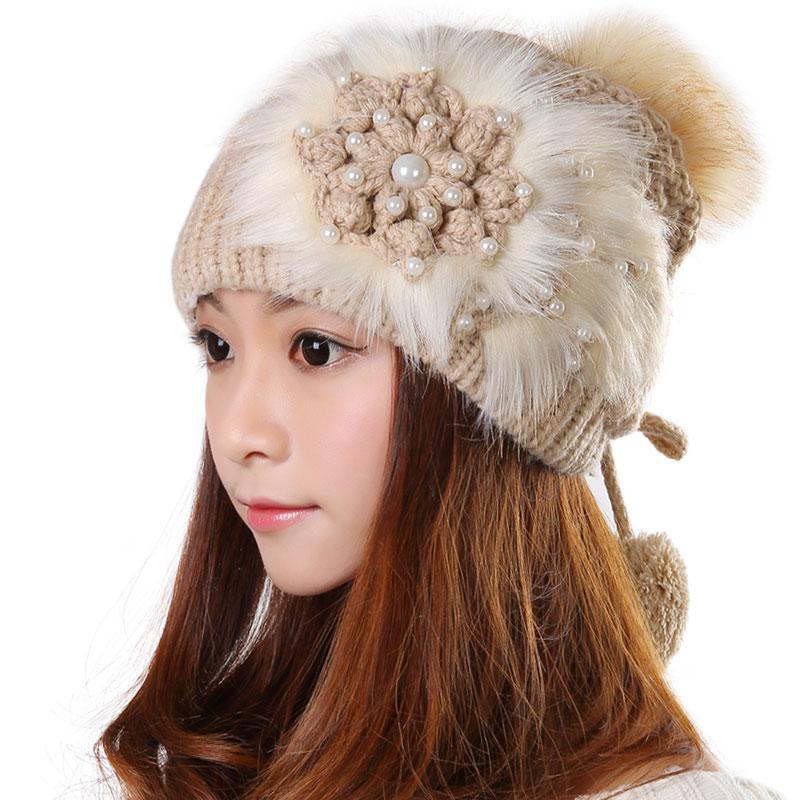 科派 潮毛線帽子女 天可愛保暖白色 粉色花朵護耳帽子0392